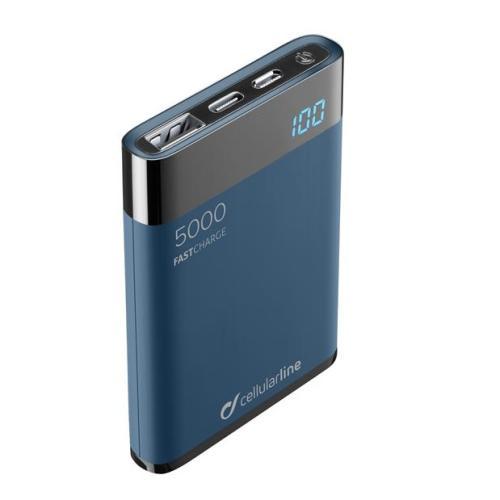 Cellularline - Kompaktní powerbanka Cellularline FreePower Manta HD, 5000 mAh, USB-C + USB port, rychlé nabíjení, modrá