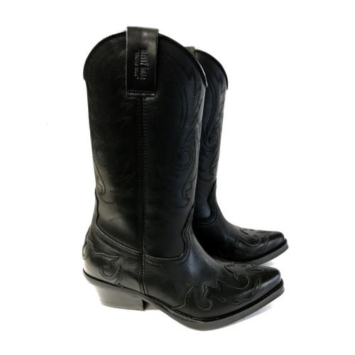 Johnny Bulls - Westernová obuv Nappa Black hladká kůže 401
