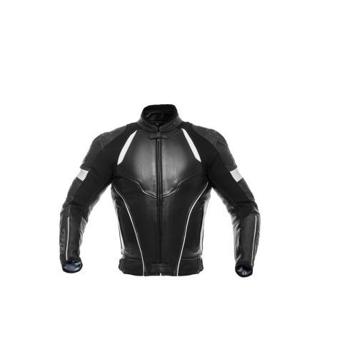 TRP - Sportovní kožená bunda Bullet - Černá/Bílá
