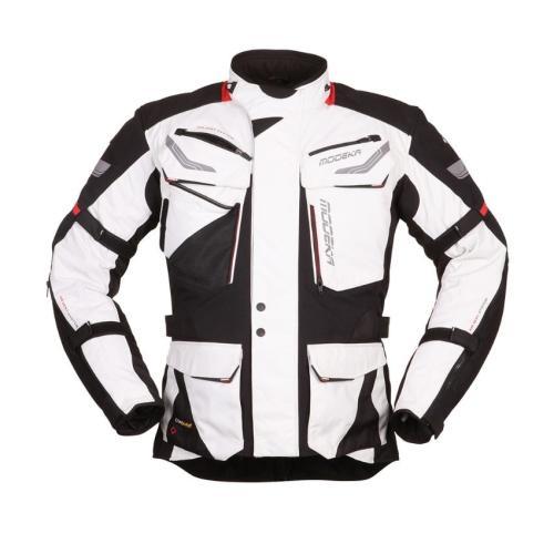 Modeka - Bunda na motorku Chekker - Světle šedá
