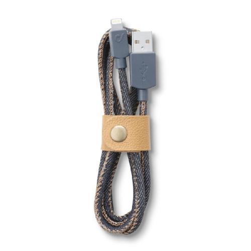 Cellularline - Datový kabel Cellularline LONGLIFE, Apple lightning, textilní obal, design Jeans