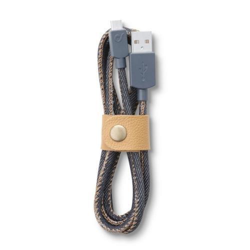 Cellularline - Datový kabel Cellularline LONGLIFE, microUSB, textilní obal, design Jeans