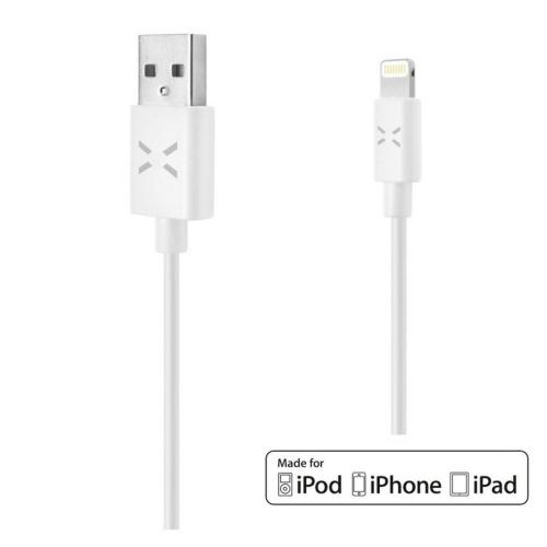 FIXED - USB datový kabel pro iPhone - FIXED s konektorem Lightning, MFI licence, 1m, bílý