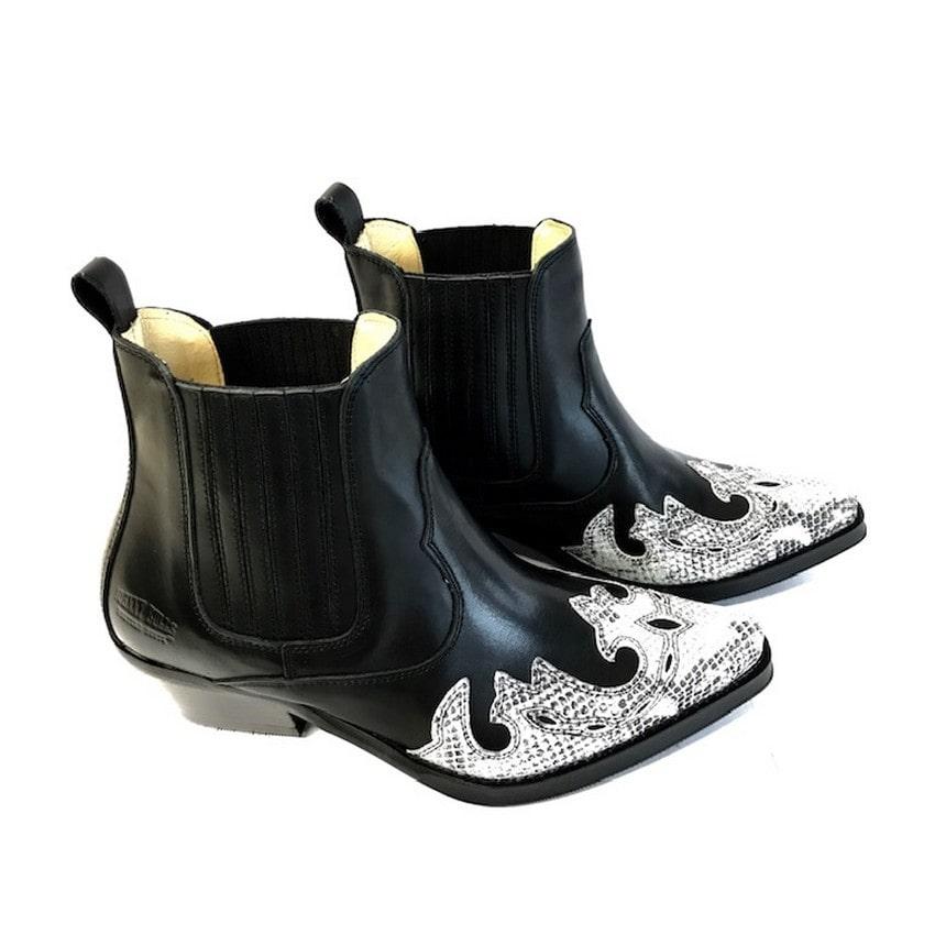 Johnny Bulls - Westernová obuv Manchado Black-white 396