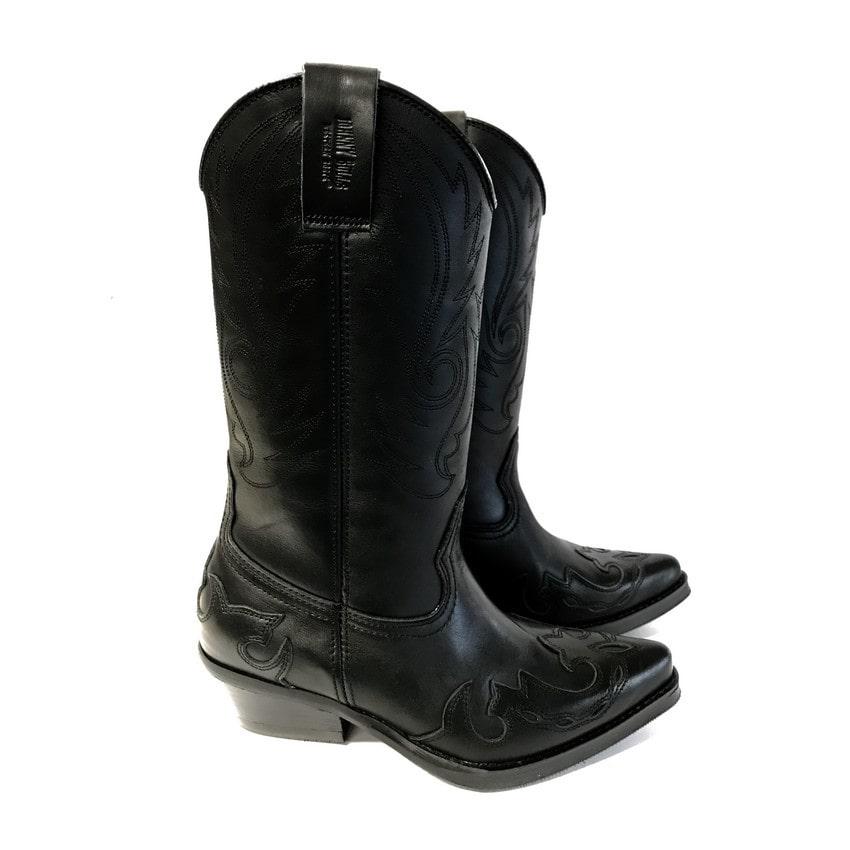 Johnny Bulls - Westernová obuv Nappa Black hladká kůže 9634