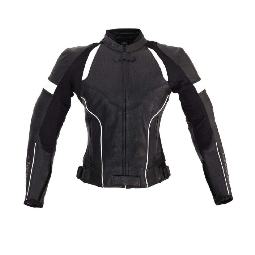 TRP - Kožená bunda Speedy - Černá/Bílá