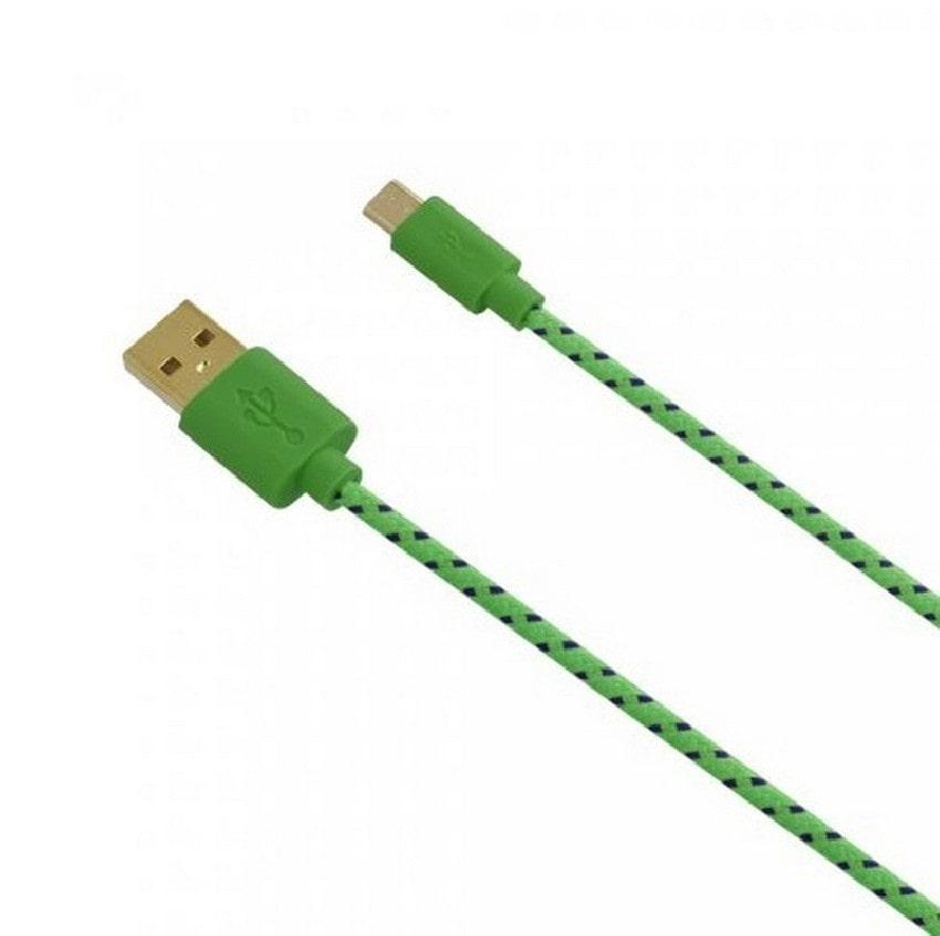 Fontastic - Datový kabel Fancy s konektorem microUSB a textilním obalem, 1m - Zelený
