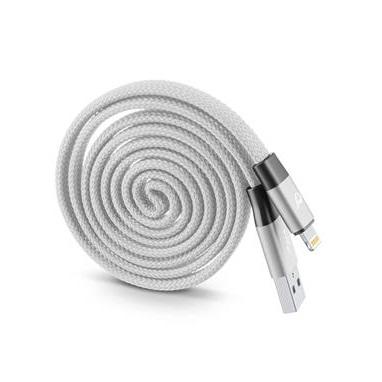 Cellularline - Plochý svinovací USB datový kabel  Yo-Yo  Apple šedý