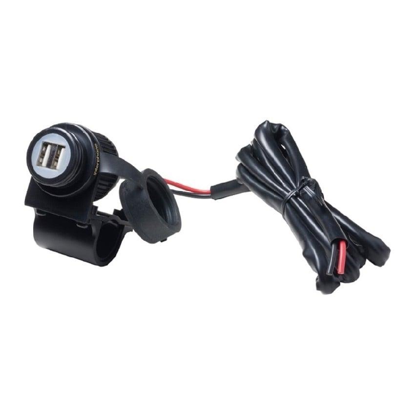 Interphone - Nabíječka s 2xUSB výstupem pro motocykly (na baterii), 2A