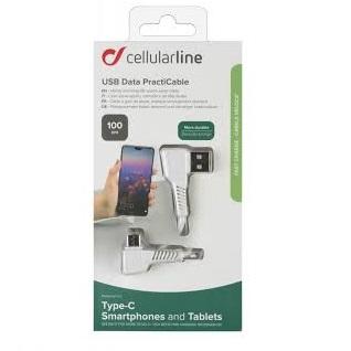 Cellularline - USB datový kabel L s USB-C, 100 cm, bílý