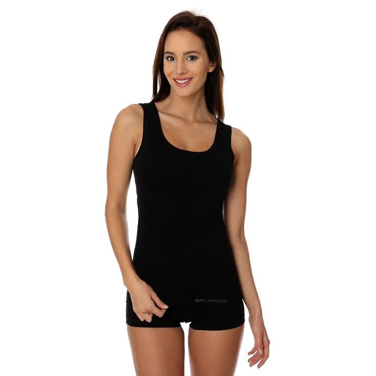 Brubeck - Dámské tričko bez rukávů Merino wool černé